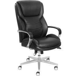 La-Z-Boy ComfortCore Gel Seat Executive Chair - Faux Leather Black Seat - Faux Leather Black Back - 28.5in. Width x 32.8in. Depth x 48.3in. Height