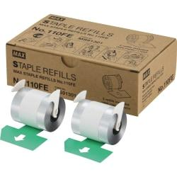 MAX 110Fe Staple Refill - 4000 Per Cartridge - 9/16in. Leg - Holds 100 Sheet(s) - for Paper - Silver - 8000 / Box