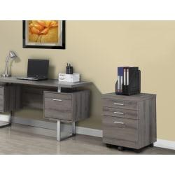Monarch Specialties 19in.D Vertical Filing Cabinet, 3 Drawers, Dark Taupe
