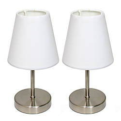 Simple Designs Mini Basic Table Lamps, 10in.H, White Shade/Sand Nickel Base, Set Of 2