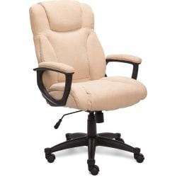 Serta Style Hannah II High-Back Office Chair, Bonded Leather, Harvard Beige/Black