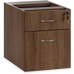 Lorell(R) Essentials Series 22in.D 2-Drawer Fixed Pedestal File Cabinet, Box/File, Walnut