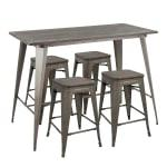 LumiSource Oregon Contemporary Table With 4