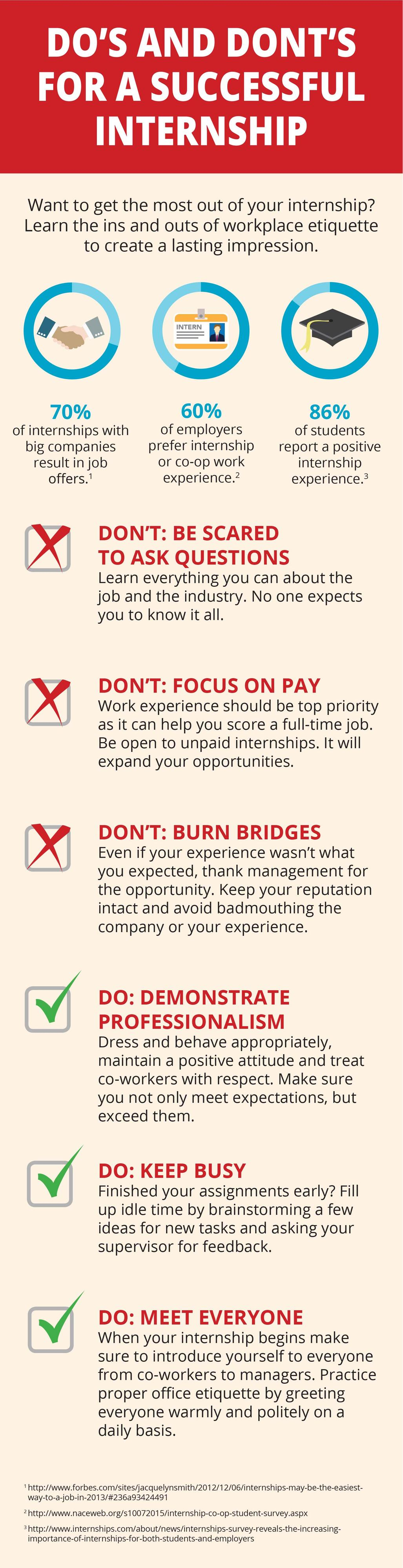 Do's and Dont's For A Successful Internship - Infographic