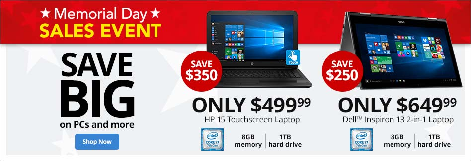 Memorial Day Sales Event - Save Big on PCs and more