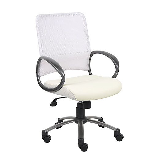 683627 Boss® CaressoftPlus™ Leather And Mesh Mid-Back Task Chair, White/Pewter
