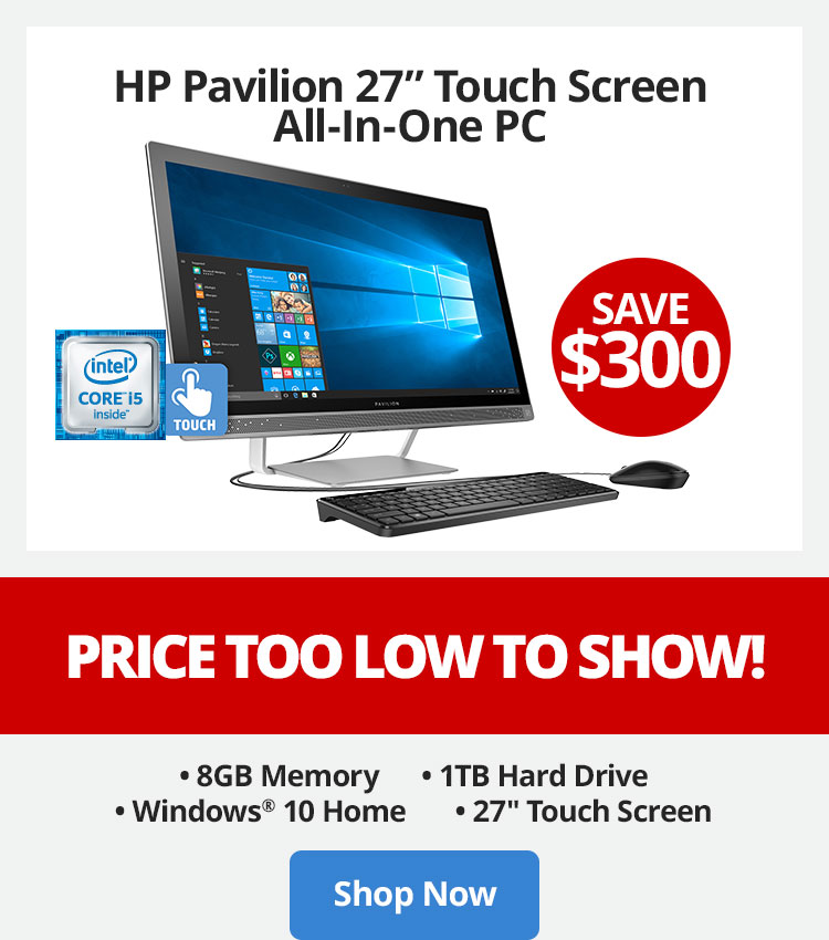"Save $300 - HP Pavilion 27"" Touch Screen All-In-One PC - Price Too Low To Show"