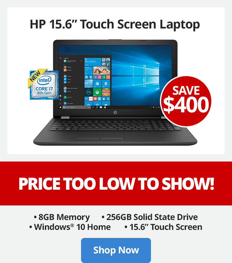 Save $400 HP15.6 Touch Screen Laptop - Price Too Low To Show