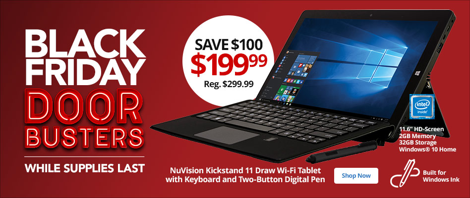 Black Friday Doorbusters- NuVision Kickstand 11 Draw Wi-Fi Tablet