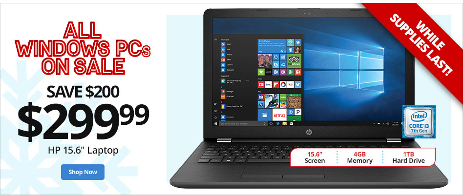 "All Windows PCs On Sale- Save $200 on HP 15.6"" Laptop"