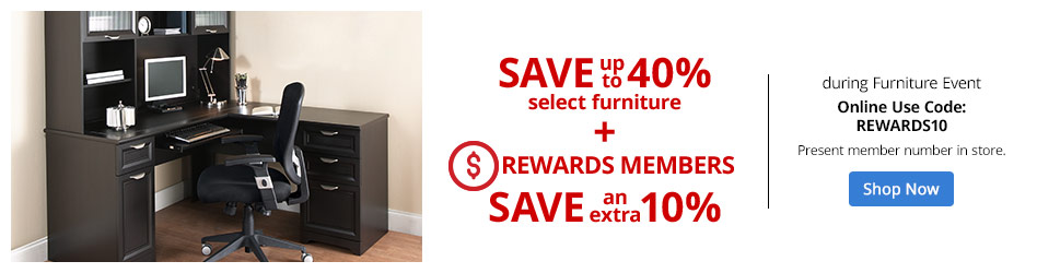 Save up to 40% Off Select Furniture + Rewards Members Save an Extra 10%