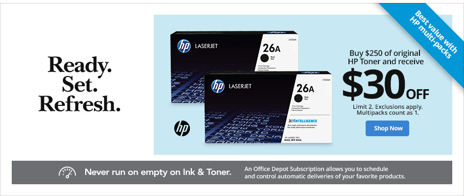 Buy $250 of Original HP Toner and Receive $30 Off