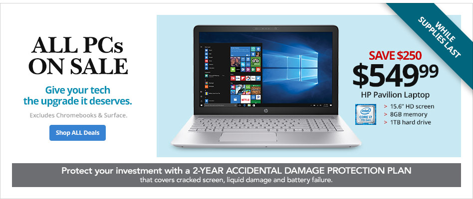 All PCs on Sale- Save $250 on HP Pavilion Laptop