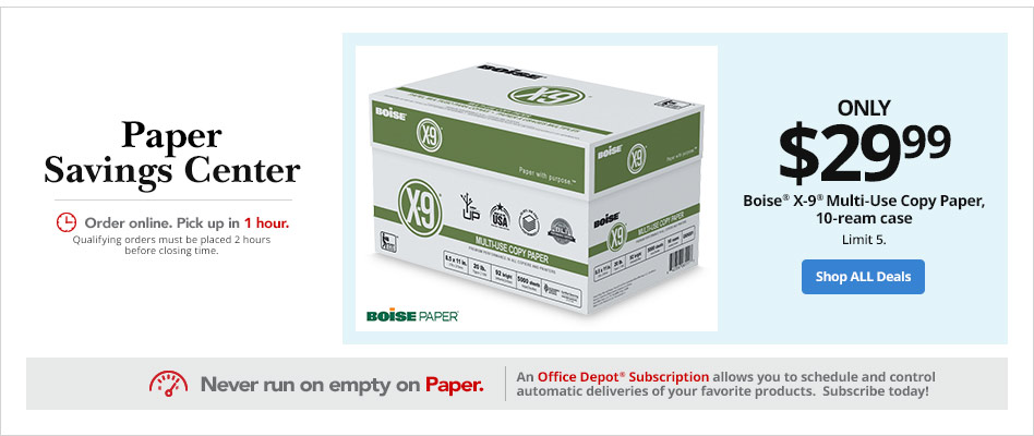 Boise X-9 Multi-Use Copy Paper, 10-ream case only $29.99