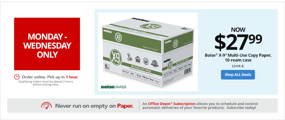 Monday-Wednesday Boise X-9 Multi-Use Copy Paper, 10 ream case only $27.99