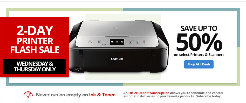 2-Day Printer Flash Sale- Save up to 50% on select printers & scanners