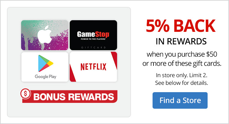 Get 5% Bonus Rewards when you purchase $50 or more of these gift cards