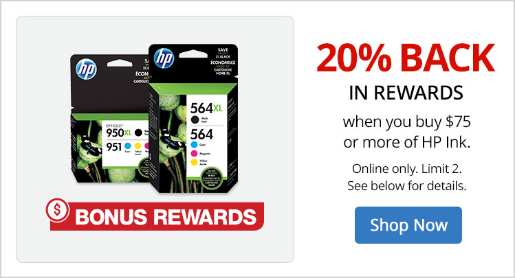 20% back in rewards on $75 of HP Ink - image
