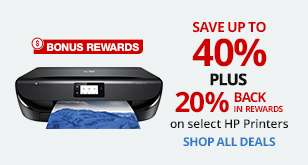 Save up to 40% PLUS 20% Back in Rewards on Select HP Printers