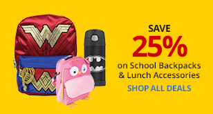 Save 25% of School Backpacks and Lunch Accessories