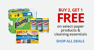 Buy Two Get One Free On Select Paper Products and Cleaning Essentials