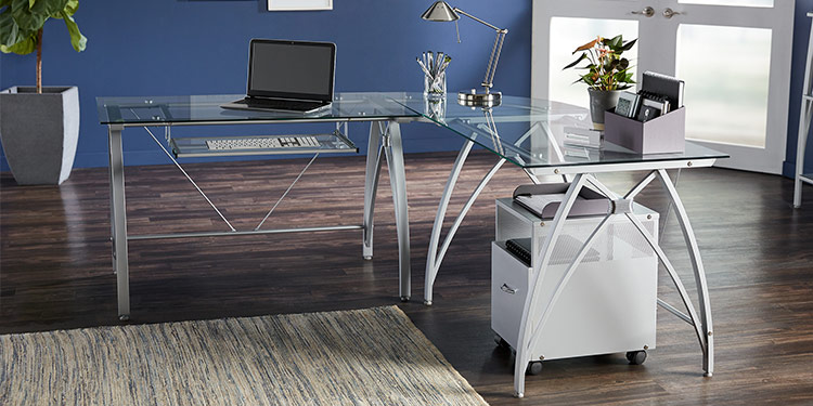 Realspace Vista L-Shaped Glass Desk