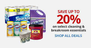 Save Up To 20% On Select Cleaning & Breakroom Essentials