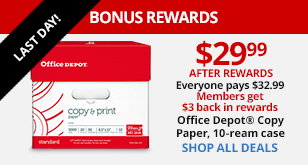 Office Depot Brand Copy & Print Paper, 10-Ream Case Only $29.99 After Rewards Last Day