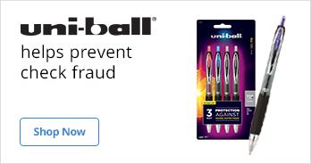 Uni-ball Pens help prevent check fraud