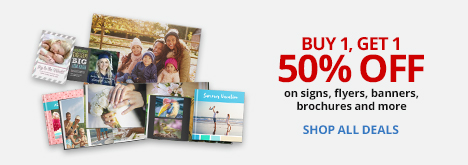 Buy 1 Get 1 50% off Signs, Flyers, Banners, Brochures, and more! VIP Members save 32%! (1)