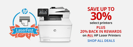 ONLINE & IN STORE 20% BACK IN REWARDS ALL HP Laser Printers. Limit 2