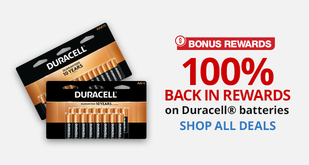 100% Back In Rewards on Duracell Batteries