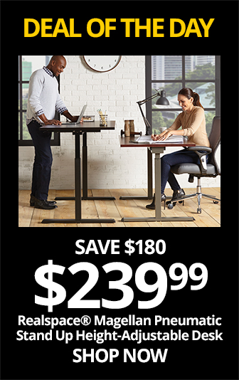 SUN- Realspace® Magellan Pneumatic Stand Up Height-Adjustable Desk, Espresso. Reg, 419.99, save $180, Now $239.99
