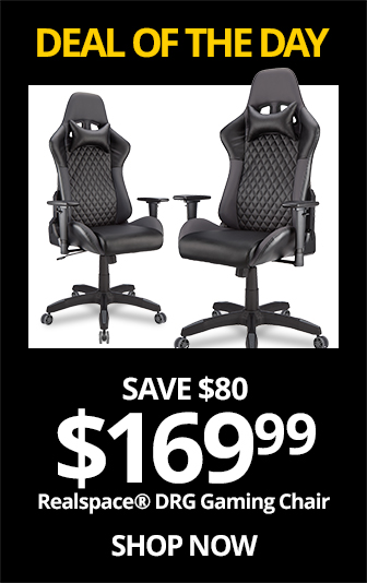 THUR- Realspace DRG Gaming Chair, Black-Gray. Reg $249.99, Save $80, Now $169.99