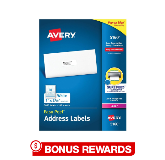 364364 Avery 5160 Labels - 100% back in rewards teaser (1)