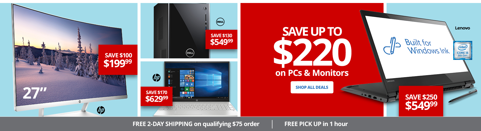 Save up to $220 on PCs and Monitors - Save $250 on Lenovo Purchase
