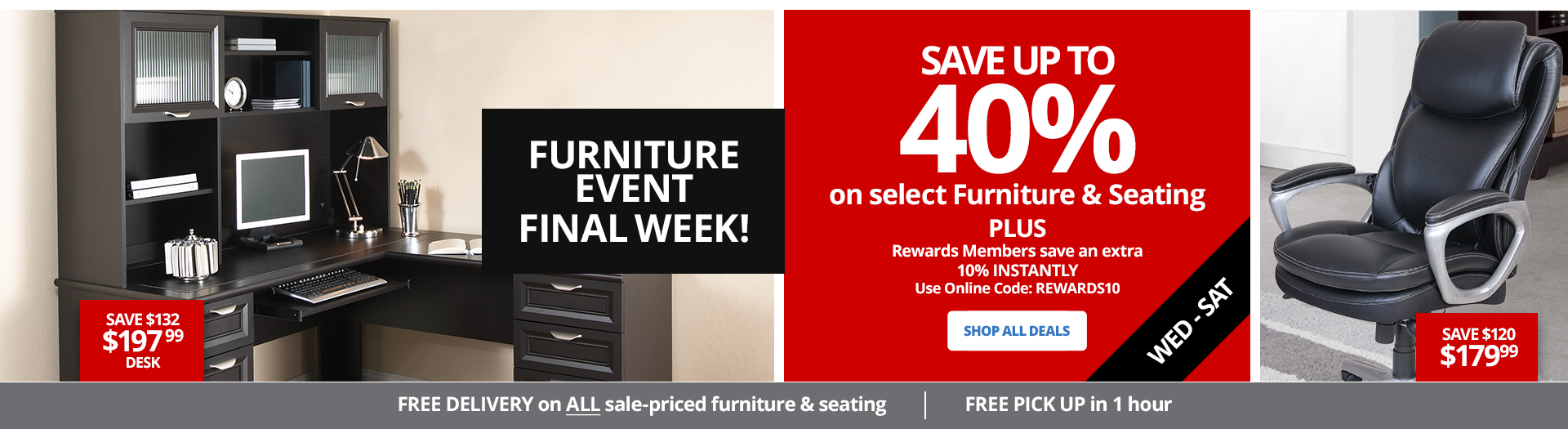 FINAL WEEK- Save up to 40% select furniture & seating