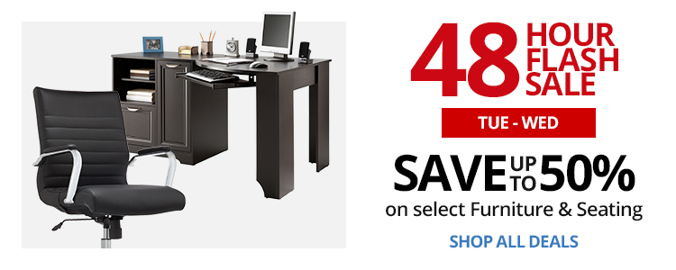 48HR Flash Sale, TUES-WED- Save up to 50% on select Furniture & Seating.