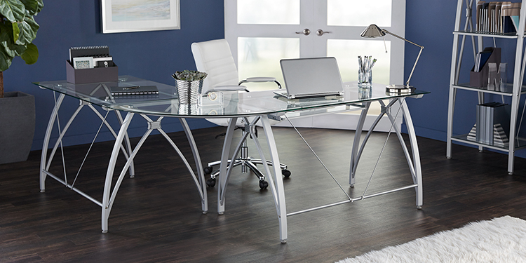 Realspace Vista L-Shaped Glass Computer Desk