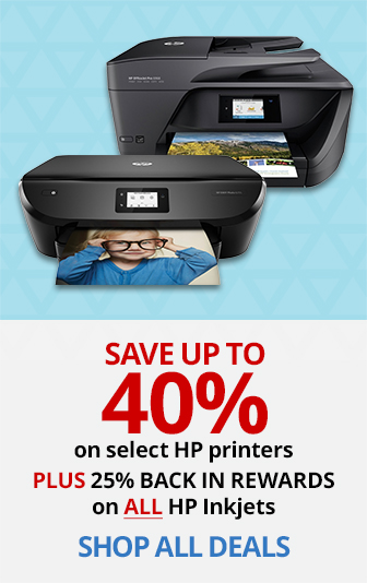 READY. SET. PRINT! Save up to 40% on select HP printers plus 25% back in rewards on ALL HP Inkjet Printers