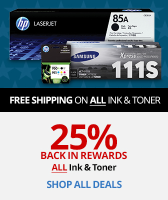 25% Back In Rewards All Ink & Toner on your qualifying purchase
