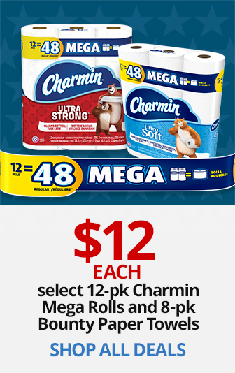 $11 select 8Pk Bounty Paper Towels and 12Pk Charmin