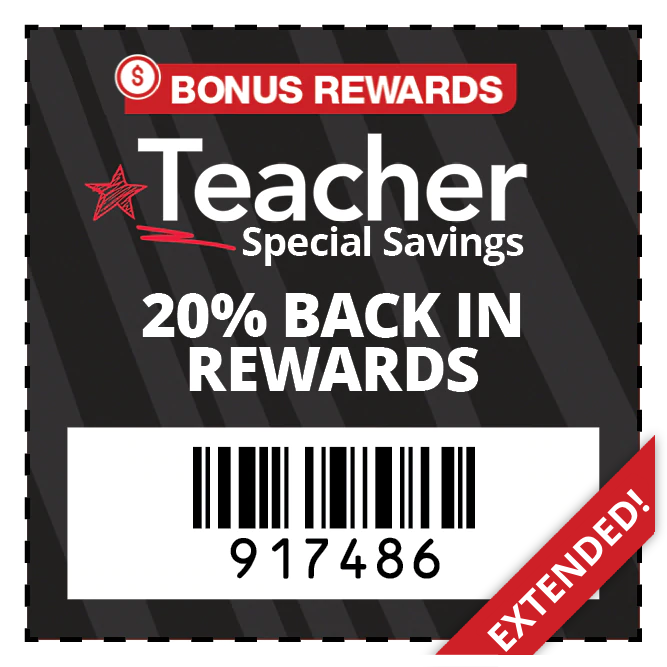 Teachers get 20% BACK IN REWARDS on qualifying purchase - EXTENDED