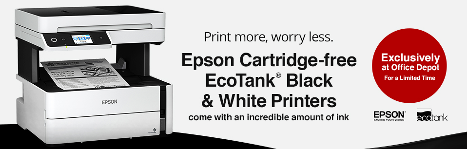 Exclusively at Office Depot. Espon Ecotank Monochrome Printers
