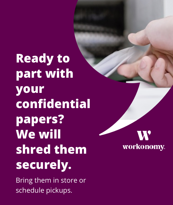 Ready to part with confidential papers? Bring them in store or shedule pickups.