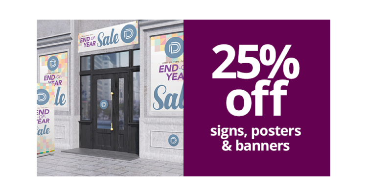 25% off signs, posters and banners