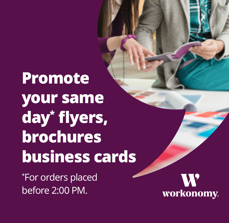 Promote your same day flyers, brochures business cards, for orders placed before 2:00 PM