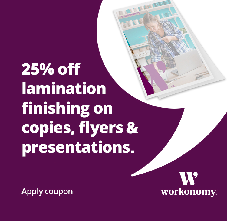 25% off lamination finishing on copies, flyers, presentations & posters - apply coupon