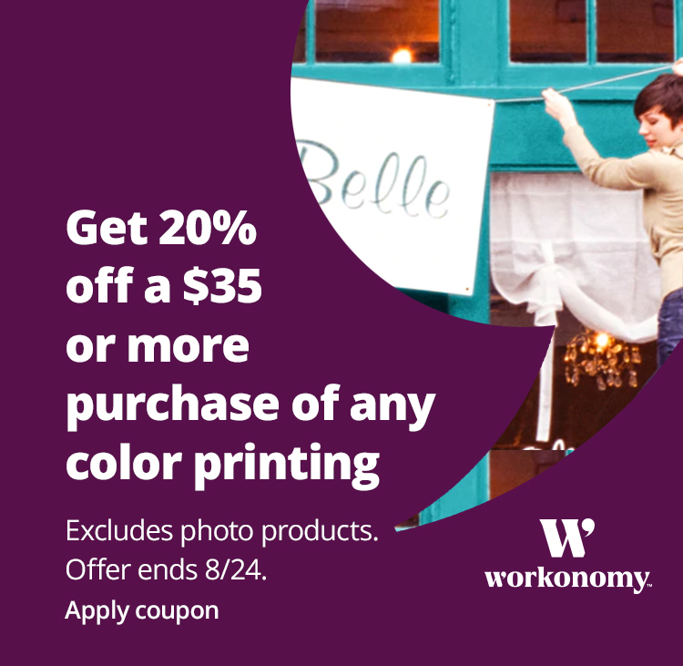 Get 20% off a $35 or more purchase of Any Color Printing - excludes photo products - Apply Coupon