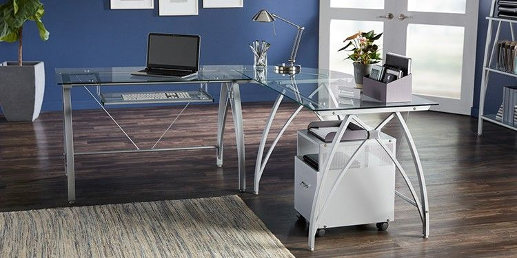 Realspace® Vista L-Shaped Glass Computer Desk